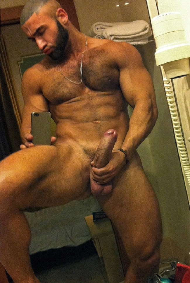 Hairy Nude Muscle Man Jerking His Big Cock - Nude Chat Men